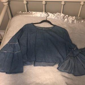 Blue, long sleeve crop top